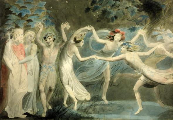 Oberon, Titania and Puck with Fairies Dancing c.1786 by William Blake 1757-1827